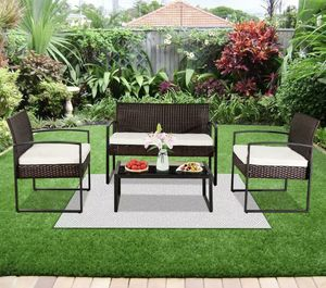 New 4Pcs Patio Sofa End Table Outdoor Furniture Garden Rattan Sectional Set Home for Sale in Kirkwood, NJ