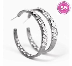 Dark gray hoop earrings with diamonds for Sale in Richmond, VA