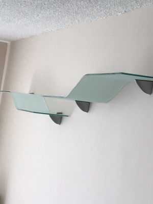 """2 tempered glass shelves, wave decorations. 2 stainless steel brackets included with each shelves. 8""""X 39.5"""" $50 each for Sale in North Miami Beach, FL"""