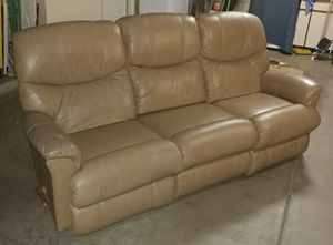 LA-Z-BOY (100% GENUINE LEATHER) DUAL - RECLINER (BEIGE) SOFA COUCH FOR SALE!!! for Sale in Tempe, AZ
