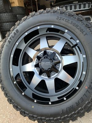 20x10 INCH INSANE OFF-ROAD RIMS WITH 33x12.50R20 TIRES PRACTICALLY NEW for Sale in Grand Prairie, TX