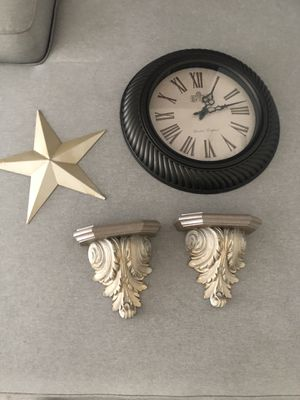 Gold house decor: clock, wall shelves $15 for Sale in Los Angeles, CA
