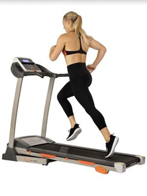 SUNNY HEALTH & FITNESS TREADMILL MOTORIZED RUNNING MACHINE WITH LCD DISPLAY, TABLET HOLDER, SHOCK ABSORPTION, 220 LB MAX WEIGHT AND FOLDING RUNNING B for Sale in Riverside, CA