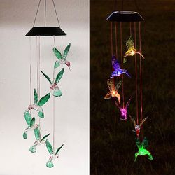 (NEW) $15 Solar Color Changing LED Hummingbird Wind Chimes Home Garden Decor Light Lamp for Sale in El Monte,  CA