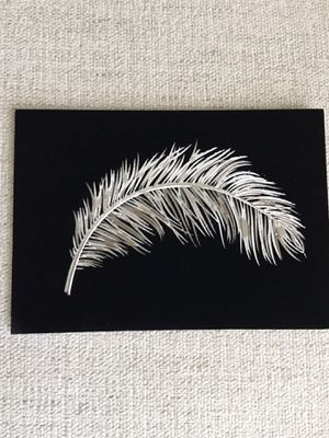 Papyrus Black Velvet and Metallic Feather Blank Greeting Card and Metallic Matching Envelope (Multiple for sale) for Sale in Laguna Beach, CA