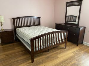 Wood Queen Size Bed with Mattress and Box Spring for Sale in Alexandria, VA