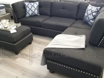 $50 Down Financing ‼️NEW BLACK SECTIONAL WITH OTTOMAN for Sale in Oviedo,  FL