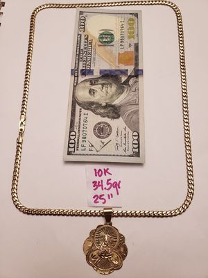 10K Solid Gold Chain and Pendant 34.5Gr 25 Inches for Sale in Miami Gardens, FL
