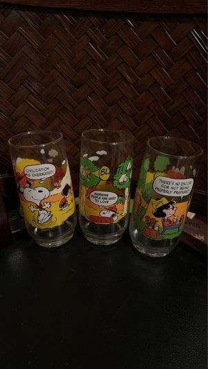 Three vintage McDonald's collectors glasses camp snoopy collection 2 1965 & 1 1972 for Sale in Monroeville, PA