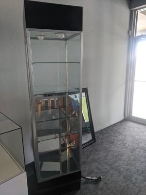 1 Jewelry Display Cases, Cash Wrap, Saddle Chair, Swivel Chair, and Wooden Filing Cabinet for Sale in North Palm Beach, FL