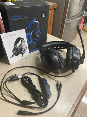 Onikuma New Gaming Headset for PS4, Xbox One (Adapter Not Included), PC with 7.1 Surround Sound, Noise Cancelling Mic, Zero Ear Pressure & D for Sale in Palmdale, CA