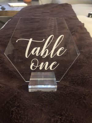 Hexagon acrylic table numbers # 1-10 for Sale in Palm Beach Gardens, FL