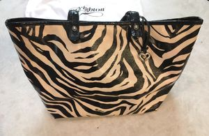 BRIGHTON GENTLY USED ZEBRA PRINT HANDBAG, OVERNIGHT BAG, VINYL TOTE. COOL LOOKING want to trade with me? for Sale in Las Vegas, NV