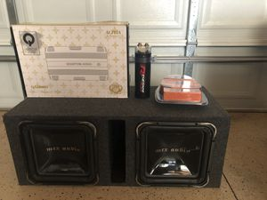 2 12 Mtx subs in a box with amp and capacitor wire kit for Sale in Chicago, IL