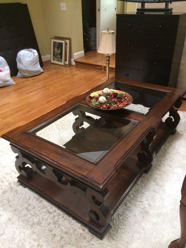Large Coffee table, dark brown, wood, glass