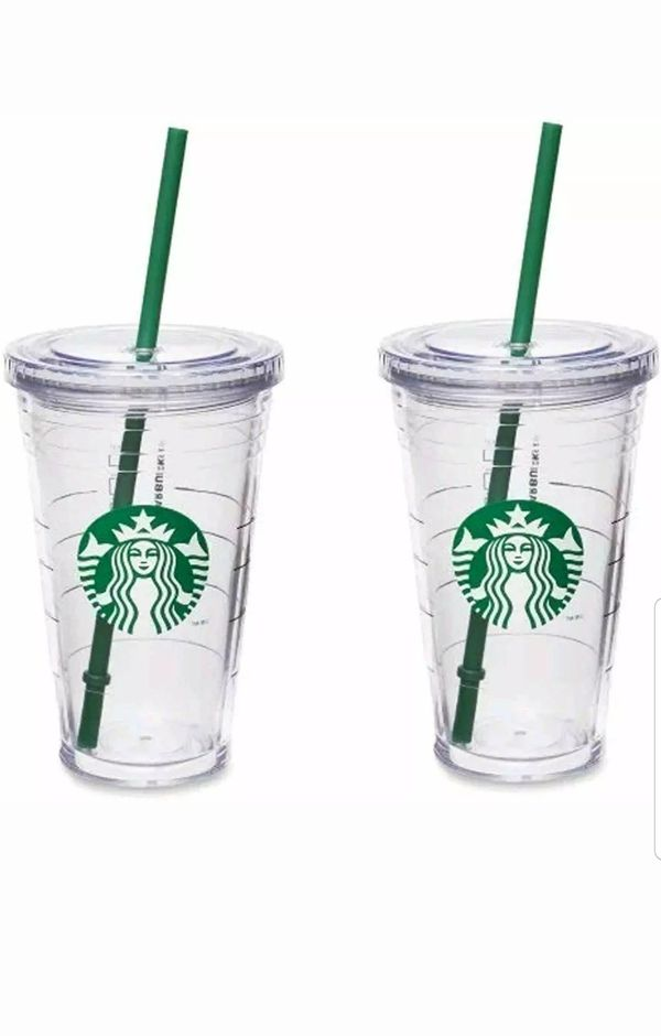 Ckear Starbucks tumbler 16oz each