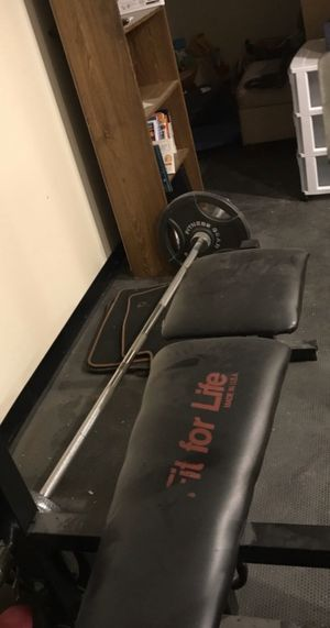 Weight Bench & Olympic Bar w/ Weights for Sale in Coventry, RI