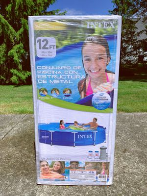 """Intex 12' x 30"""" Metal Frame Round Above Ground Swimming Pool with Filter Pump for Sale in North Olmsted, OH"""