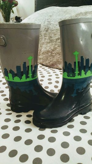 Get your Seahawk/Seattle skyline rain boots now!! for Sale in Seattle, WA