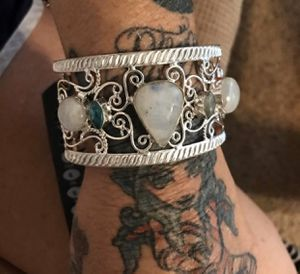 Sterling silver cuff main stone Rainbow moonstone for Sale in Las Vegas, NV