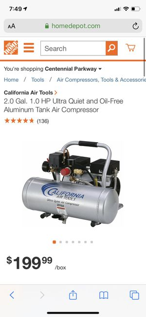 California air tools 2 gallon air compressor new open box for pictures and testing for Sale in Las Vegas, NV