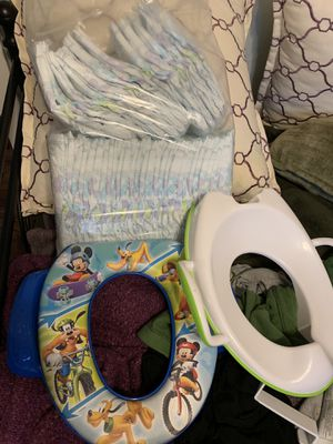 Diapers size 6 new, and potty training seats x2 for Sale in Kent, WA