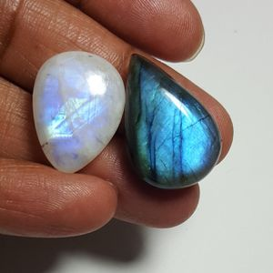 Labradorite & Rainbow Moonstone Cabochon: LRL-01-4/STK-116 for Sale in Queens, NY