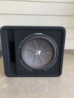 "KICKER - CompR 12"" Dual-Voice-Coil 2-Ohm Loaded Subwoofer Enclosure - Black with amp for Sale in Scottsdale, AZ"