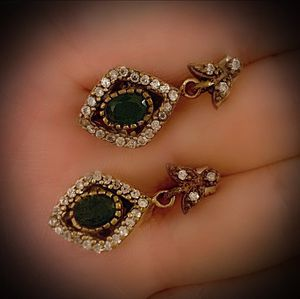 EMERALD FINE ART DANGLE POST EARRINGS Solid 925 Sterling Silver/Gold WOW! Brilliantly Faceted Oval Cut Gemstones, Diamond Topaz N652 V for Sale in San Diego, CA