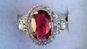 Sterling silver 3ct lab ruby with halo ring for Sale in Baltimore, MD