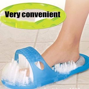 Shower Foot Feet Cleaner Scrubber Washer Bath Shoes Brush Foot Health Care Tool Household Bathroom Stone Massager Slipper Blue for Sale in Beverly Hills, CA