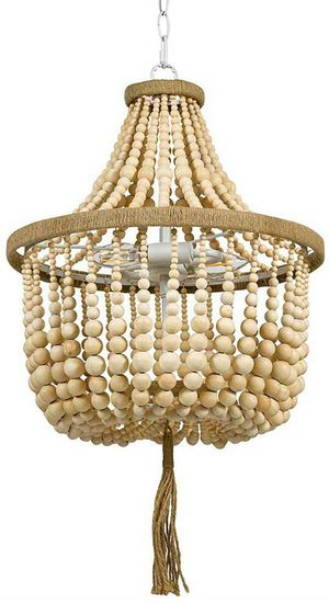 Modern Farmhouse Wood Bead Ceiling Pendant Chandelier Fixture With 2 LED Vintage Light Bulbs - 14 x 14 x 24 Inches, Natural for Sale in Henderson, NV