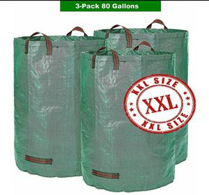 3-Pack 80 Gallons Garden Bag - Extra Large Reusable Leaf Bags for Sale in Oroville, CA