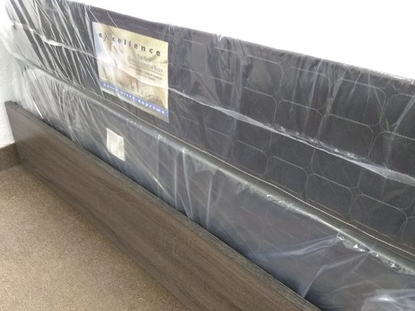 New 10 inch Black Queen mattress and box spring ONLY