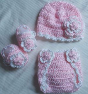 Crochet Baby Girl Diaper Cover Outfits Newborn for Sale in Lyons, GA