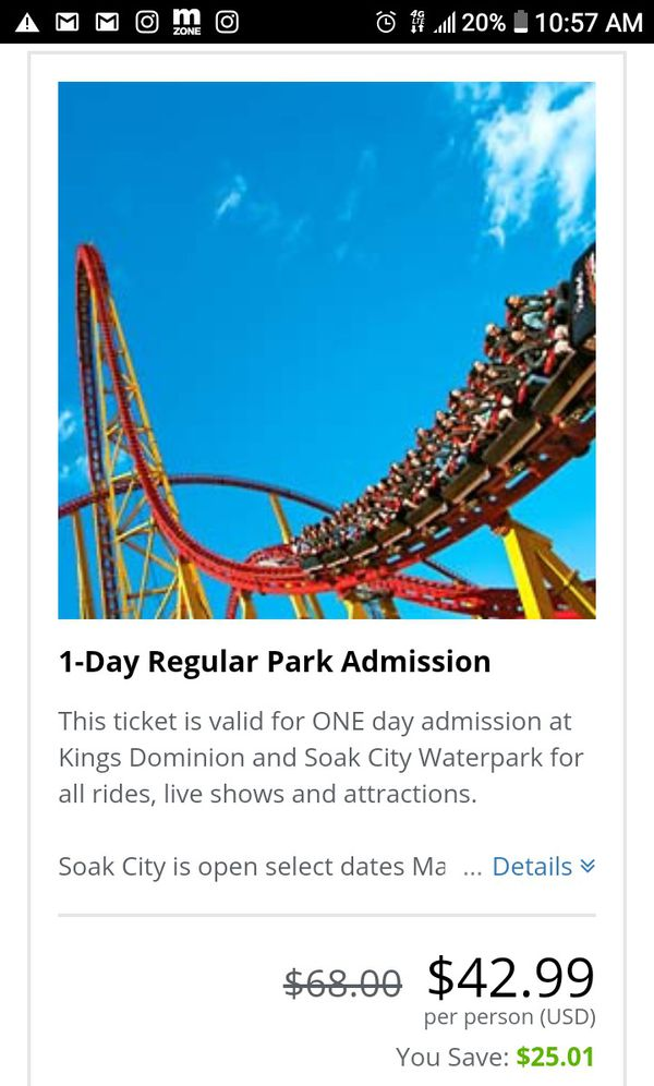 Kings Dominion 1 Day Pass