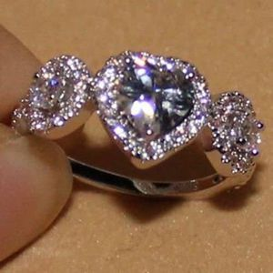 High Quality White Gp Cz Lovers Ring / Size:8 for Sale in Brownsboro, TX