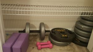 Weights, yoga blocks and curl bar. for Sale in Stockbridge, GA