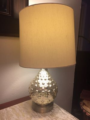 Silver glass lamp with shade and bulb for Sale in San Leandro, CA