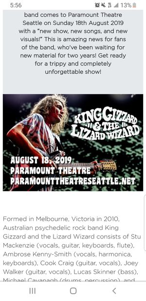 KING GIZZARD Tickets 40$ for BOTH for Sale in Renton, WA
