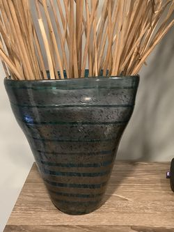 Glass Vase Blue Stripe for Sale in Mill Neck,  NY