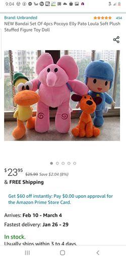 4pcs Pocoyo Elly Pato Loula Soft Plush Stuffed Figure Toy Doll for Sale in Lynnwood,  WA