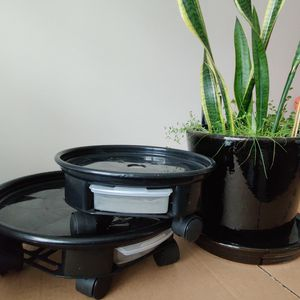 3 Plant Pots & 2 Drainage Trays With Rollers for Sale in Dearborn, MI