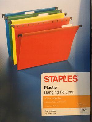 Rainbow plastic hanging folders for Sale in Saco, ME