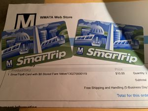 Washington DC Metro Cards for Sale in Reading, PA