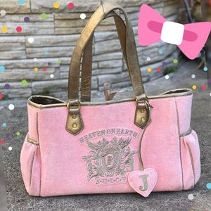 """🎀 """"Heaven on Earth"""" Authentic Juicy Couture Baby Precious Pink *Rare to find* Velour Diaper Bag for Sale in SIENNA PLANT, TX"""