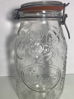 Vintage Wheaton Glass Jar Canisters Glass Top Wire Bale Embossed Fruit for Sale in Fort Myers,  FL