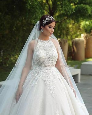 Luxury Lace Muslim Bride Wedding Dresses A Line 2020 New Sleeveless Court Train Bridal Wedding Gowns Plus Size Robe De Mariee for Sale in Orlando, FL