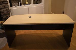 """Ameriwood Pursuit 66"""" desk with brand new desktop power supply and file cabinet/printer stand for Sale in Springfield, MA"""