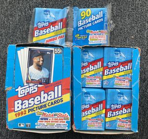2 Wax Boxes 1992 Topps Baseball Cards All Packs Unopened for Sale in Placentia, CA